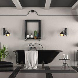 łazienka w czerni i bieli