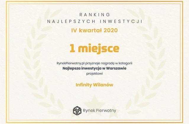 INFINITY WILANÓW – Najlepsza Inwestycja Mieszkaniowa według portalu rynekpierwotny.pl